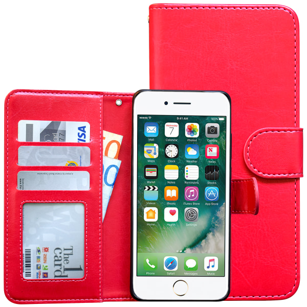 iPhone 7/8/SE (2020) - Plånboksfodral / Magnet Skal + Touchpenn Rosa
