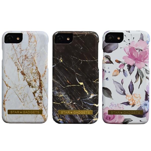 iPhone 7 / 8 - Skal / Skydd / Blommor / Marmor Svart