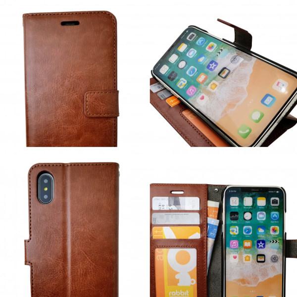 iPhone Xs Max - Läderfodral / Skydd Svart