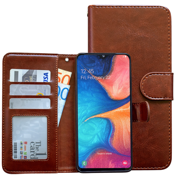 Samsung Galaxy A20e - Läderfodral / Skydd Svart