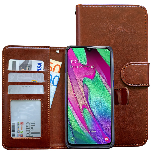 Samsung Galaxy A40 - Läderfodral / Skydd Rosa