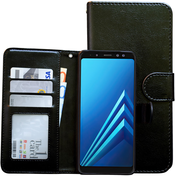 Samsung Galaxy A8 2018 - Läderfodral/Skydd Svart
