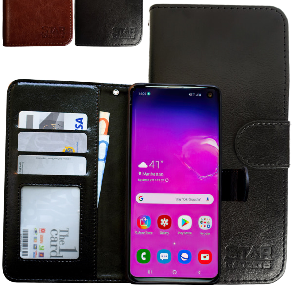Samsung Galaxy S10 - Läderfodral / Skydd Brun