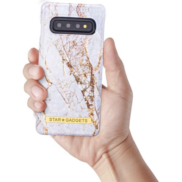 Samsung Galaxy S10 - Skal / Skydd / Blommor / Marmor Rosa