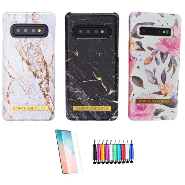 Samsung Galaxy S10 - Skal / Skydd / Blommor / Marmor Vit
