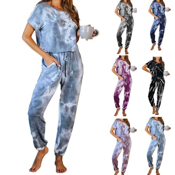2 kostym Kvinnors avslappnade byxor kortärmad T-shirt jumpsuit