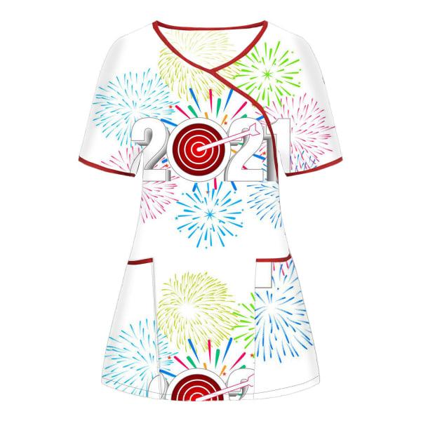 2021 Tryckt Unisex vårduniform T-shirt med gott nytt år