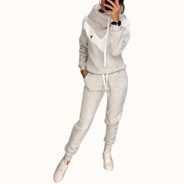 2PCS Women Tracksuits Set Hoodie Pants Gym Sport Loungewear Light Gray L