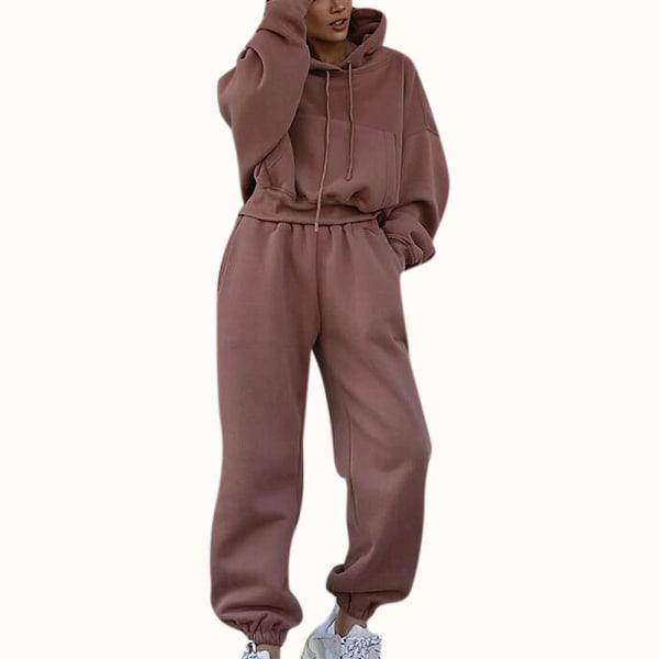 2PCS Women Tracksuits Set Hoodie Tops Pants Gym Sport Loungewear Bean Paste M