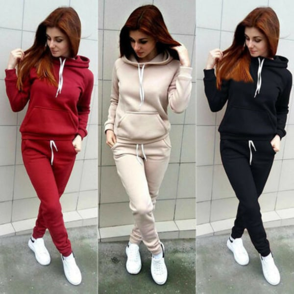 2PCS Womens Hoodies Tracksuit Sweatshirt Pants Sets Sport Gym Grey M