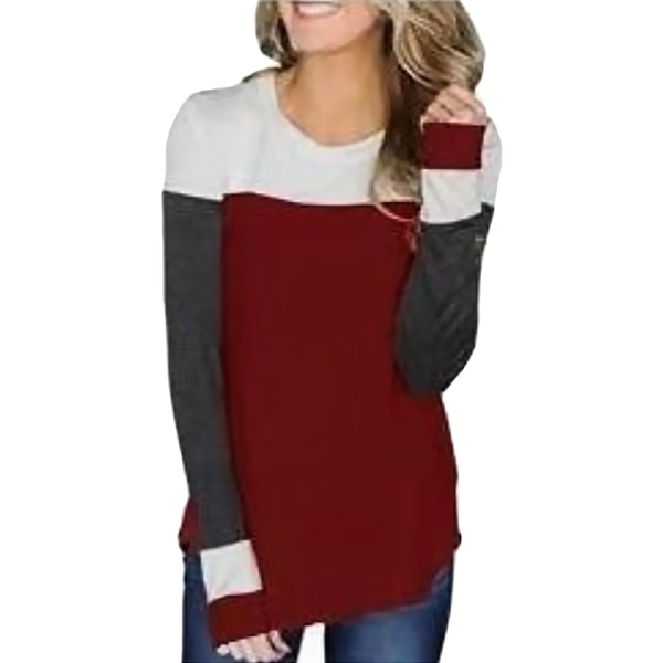 Autumn Fashion Women Contrast Color Long Sleeve winered XL