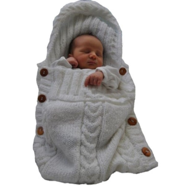 Baby swaddle _ Stickad sovsäck _ Bekväm spjälsäng white