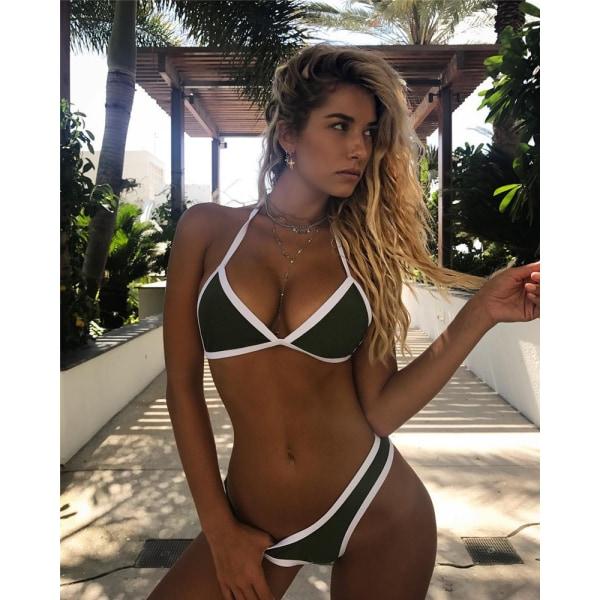 Baddräkt bikini med triangelväska i split i enfärgad färg Armégrön L