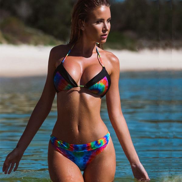 Baddräkt damer split regnbågefärgad bikini baddräkt Svart S