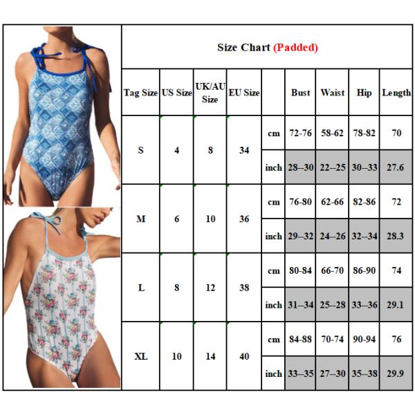 Baddräkt geometrisk tryck kvinnlig mage band hel del bikini Bild 1 L