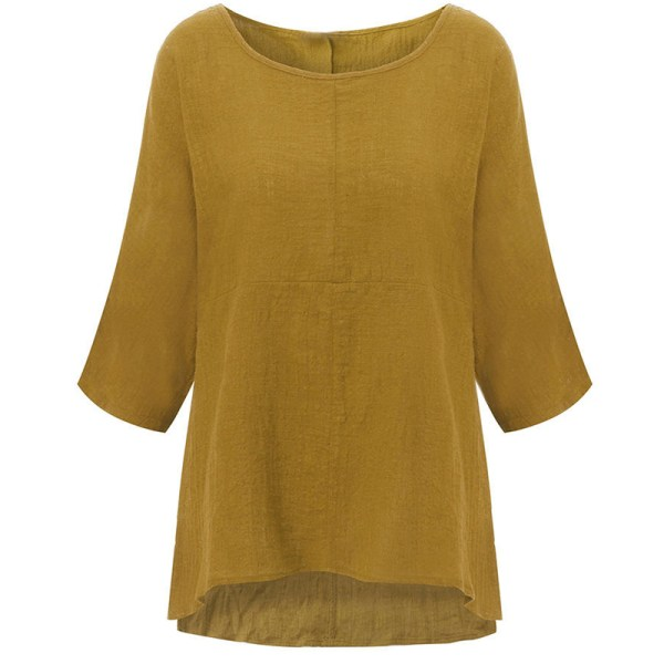 Bat Sleeve Cotton and Linen Long Sleeve white XL