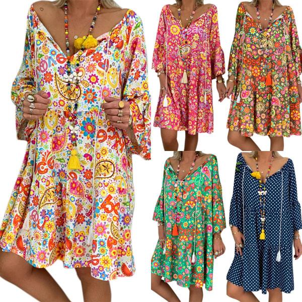 Bohemian Boho Dress Plus Size Sleeve yellow L
