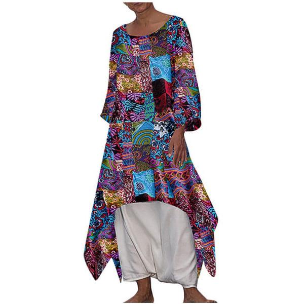 Bohemian linne bomull blommig långärmad klänning