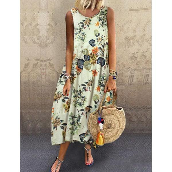 Bohemian Style Ladies Fashion Dress Green 5XL