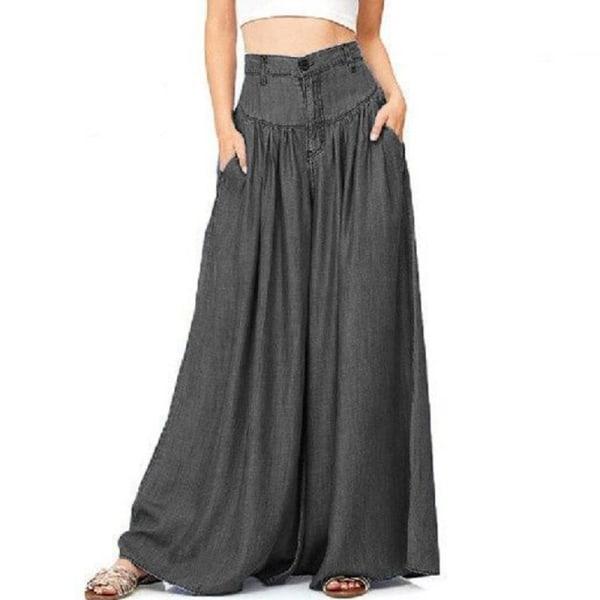 Byxor för kvinnor med vida ben, avslappnade byxor med hög midja svart 3XL