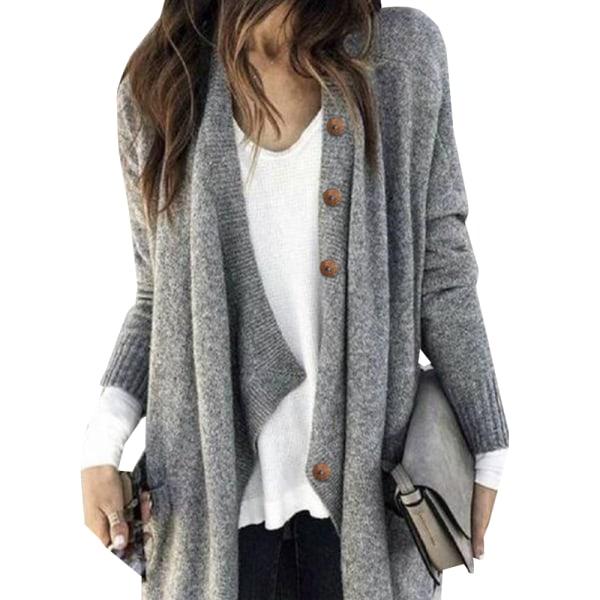 Cardigan stickad jacka för kvinnor Långärmad kofta med fickor grå L
