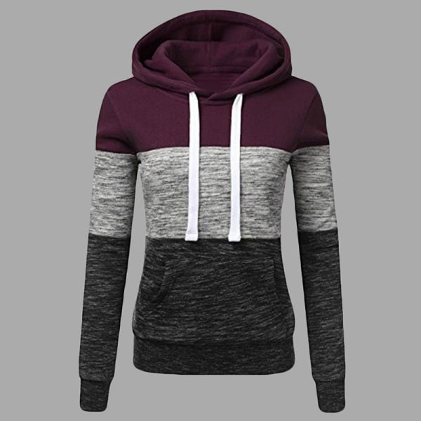 Women's Color Block Hoodie Long Sleeve Drawstring Pullover red wine L