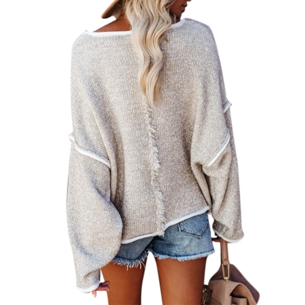 Casual Women Autumn Winter Knitted Sweater Loose Pullover Jumper grey M
