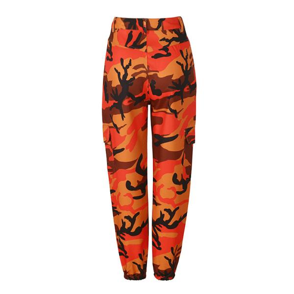 Dam kamouflage byxor med hög midja, kamouflage overall orange XL