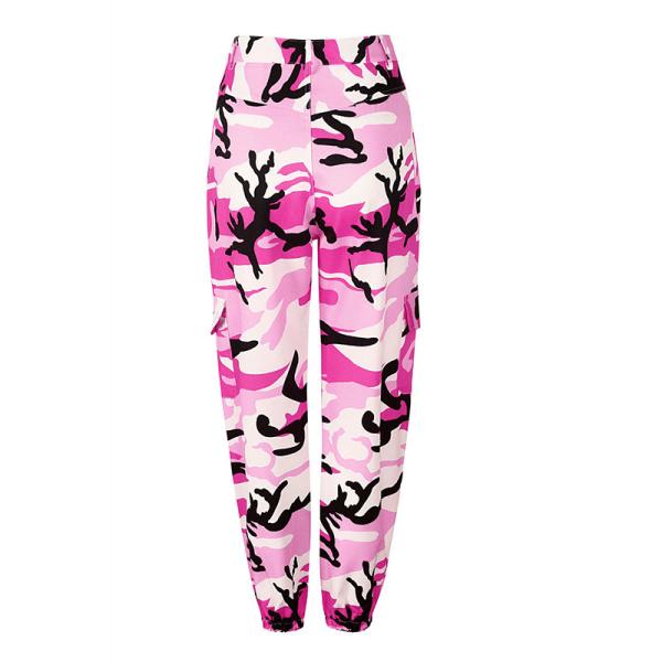 Dam kamouflage byxor med hög midja, kamouflage overall rosa M