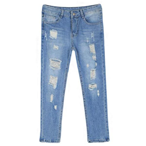 Dam med hög midja skinny stretch jeans slitna, slitna jeansbyxor L