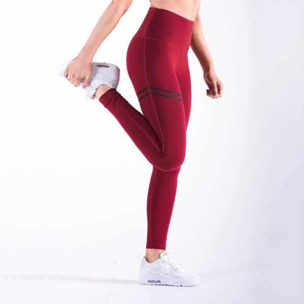 Ladies Yoga Pants Gym Leggings Sports Jogger Fitness Trousers red M
