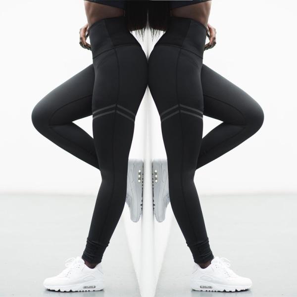 Kvinnors fitness yogabyxor, leggings, sportbyxor black XL
