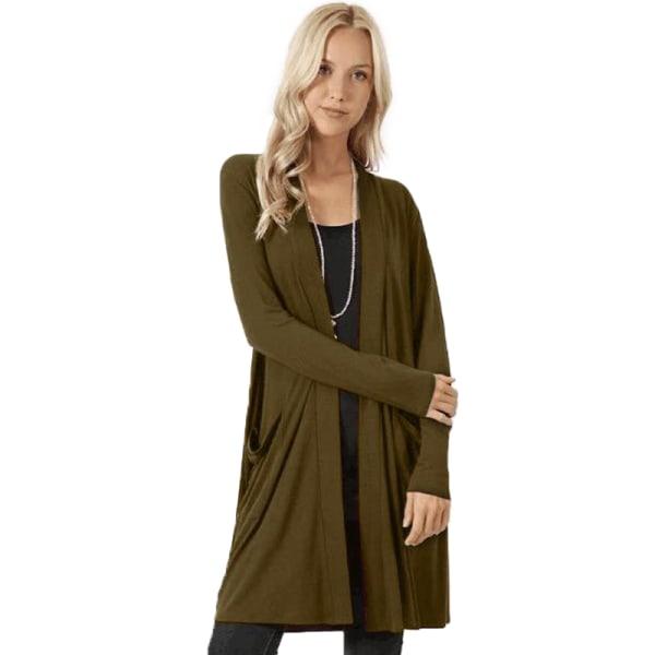 Damer avslappnad långärmad mid-längd lättvikts kofta jacka tröja armégrön S