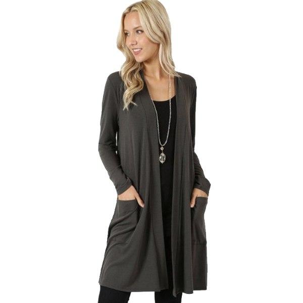 Damer avslappnad långärmad mid-längd lättvikts kofta jacka tröja grå 3XL