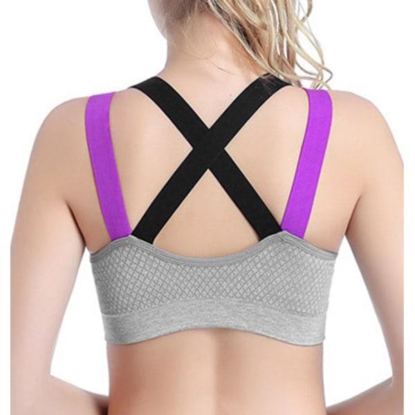 Damer korsar sportunderkläder, yogalöpande fitnessunderkläder grå L