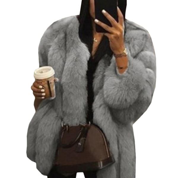 Damer rund hals plyschjacka casual faux ull kappa varm jacka grå L