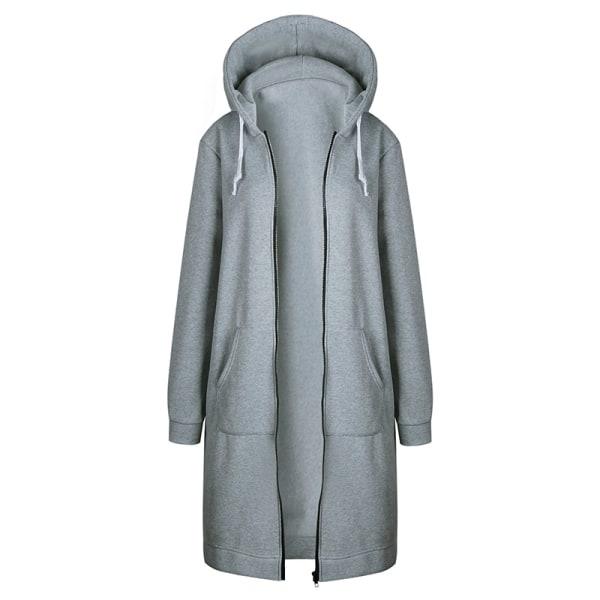 Damjacka med lång dragkedja med dragkedja lång kappa Tröja kofta grå 4XL