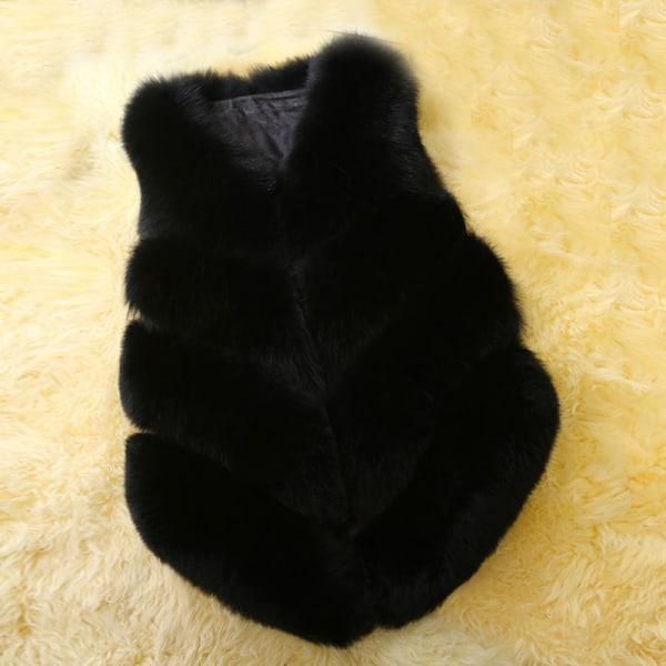 Dammode höst och vinter varm kort fuskpälsvästjacka svart L