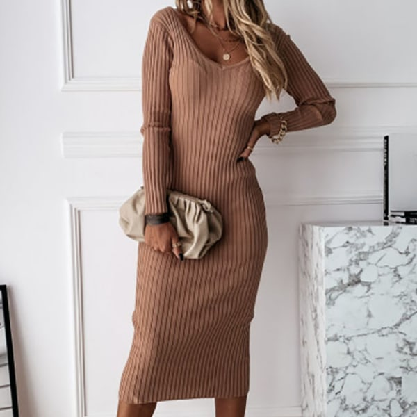 Elegant dress with long sleeve plush dress for woman camel M