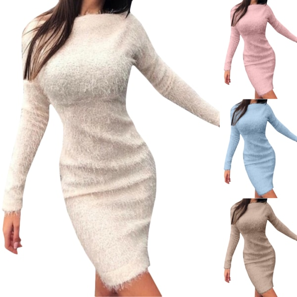 Elegant dress with long sleeve plush dress for woman gray M