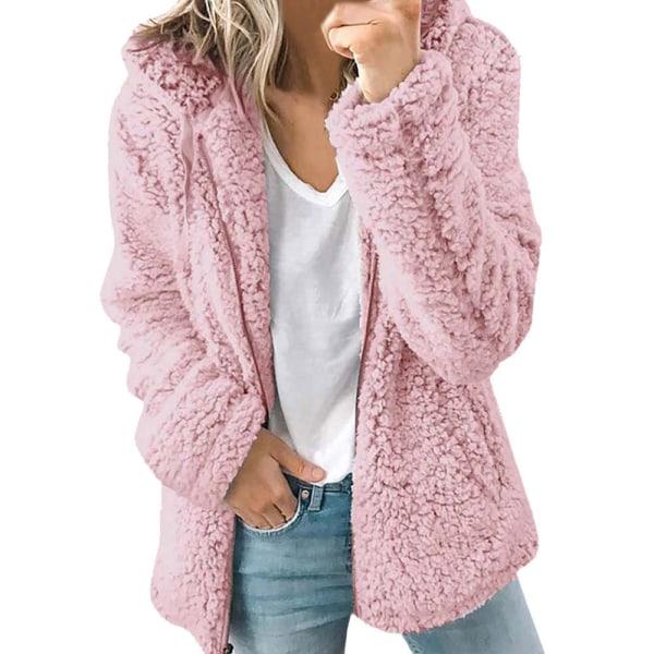 Enfärgad jacka med dragkedja i päls i enfärgad dam rosa L