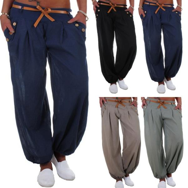 Enfärgade byxor för kvinnor, avslappnade eleganta byxor kungsblå M