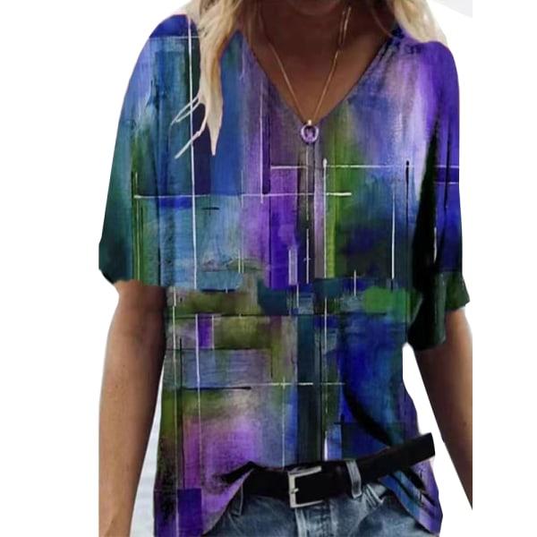 Europeiskt och amerikanskt mode och elegant tryckt lös T-shirt