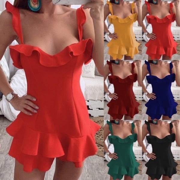 Mode sexiga kvinnor Bodycon Mini klänning ruffle