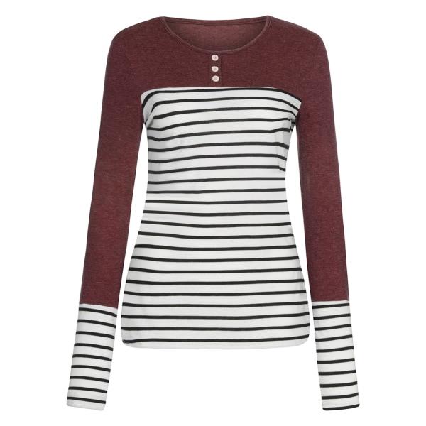Kvinnor Stripe långärmad knapp Toppar Red 2XL