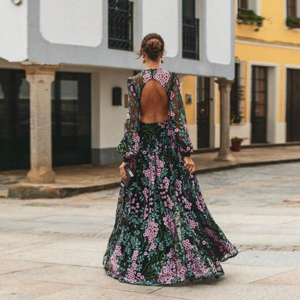 Blommigtryck Kvinnor Rundhals Backless Sexig Long Beach Dress
