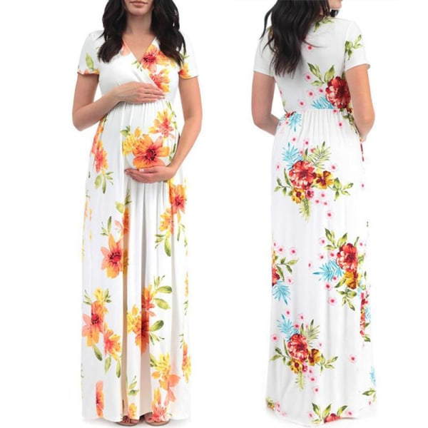 Flower Printed Maternity Dresses Pregnant Ball blue XL