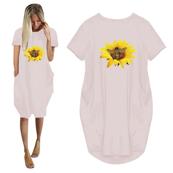 Flicka solros kortärmad klänning med tryck pink 4XL