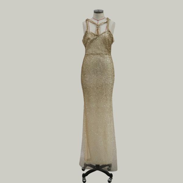 Grimma Cross-Neck kvinnor Off-Shoulder Paljett sjöjungfru klänning
