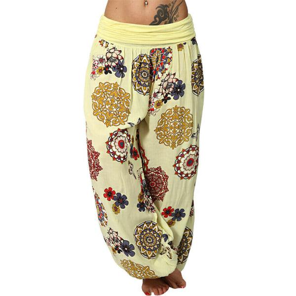 Harem Hippie Pants Womens Yoga Floral Boho Bottoms Traousers Yello2 XL